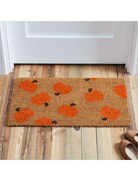 Nickel Designs Hand Painted Doormat   Pumpkin by West Elm