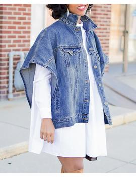 Turn Down Collar Buttoned Side Slit Denim Coat by Chic Me