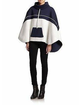 Laveer  $495  Navy White Colorblock Poncho Jacket  One Size by Laveer