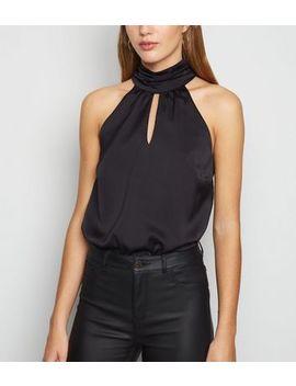 Black Satin Keyhole High Neck Bodysuit by New Look