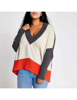 Plus Beige Colour Block Batwing Sleeve Jumper by River Island