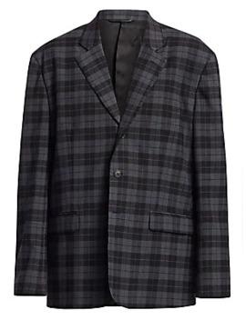 Plaid Single Breasted Jacket by Balenciaga