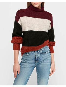 Striped Balloon Sleeve Mock Tunic Sweater by Express
