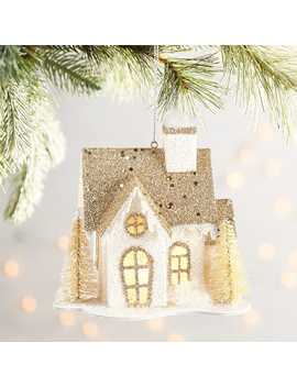 Led Light Up White & Gold House Ornament by Pier1 Imports
