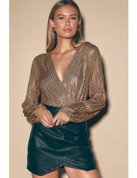 Disco Dance Copper Metallic Long Sleeve Surplice Bodysuit by Lulus