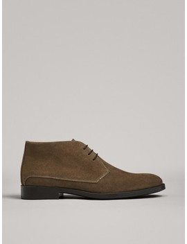 Split Suede Desert Boots by Massimo Dutti