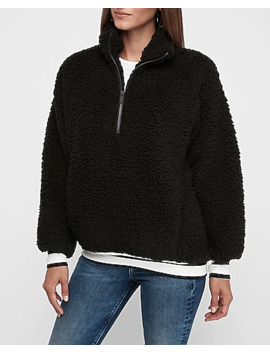 Varsity Stripe Sherpa Quarter Zip Sweatshirt by Express