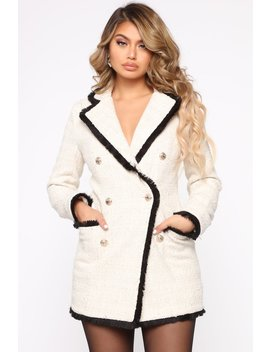 Queen Boss Blazer Mini Dress   Ivory by Fashion Nova