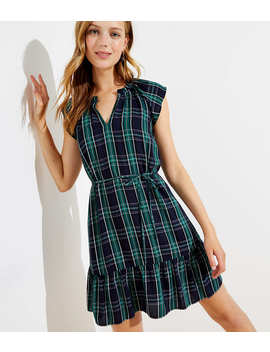 Petite Plaid Split Neck Tie Waist Dress by Loft