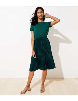 Petite Mixed Media Pleated Dress by Loft