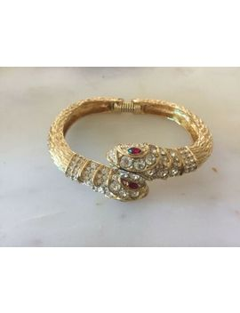 Excellent Vintage Kenneth Jay Lane Crystal Double Snake Head Gold Tone Bracelet by Kenneth Jay Lane