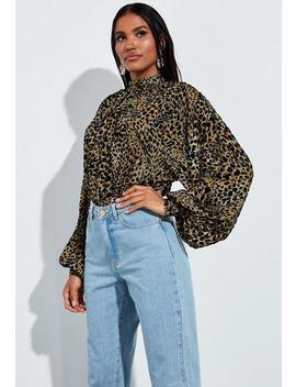 Peace + Love Brown Animal Print Velvet Bodysuit by Missguided