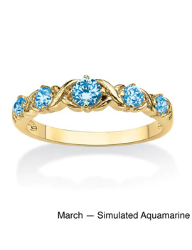 "Round Birthstone 14k Gold Plated ""X & O"" Stackable Ring Color Fun   Blue   Blue   March   5   Blue   Aquamarine by Palm Beach Jewelry"