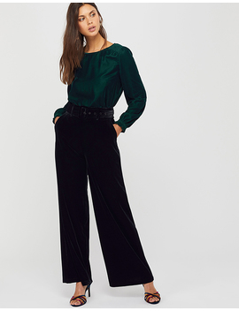 Victoria Velvet Wide Leg Trouser by Monsoon
