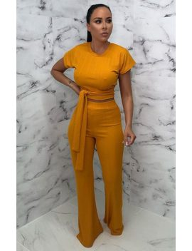 Mustard Ribbed Belted Co Ord   Alannah by Femme Luxe