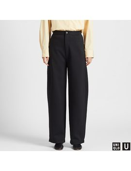 Women Uniqlo U Jersey Wide Fit Curved Trousers (11) by Uniqlo