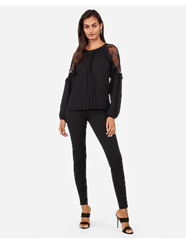 Pleated Lace Shoulder Top by Express