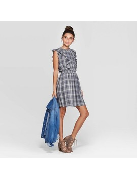Women's Plaid Sleeveless Crewneck Smocked Waist Dress   Universal Thread™ Yarn by Universal Thread