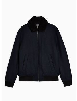 Selected Homme Navy Bomber Jacket With Wool by Topman