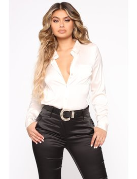 Professional And Chic Button Down Shirt   Ivory by Fashion Nova