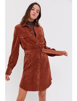 Uo Averie Corduroy Belted Shirt Dress by Urban Outfitters