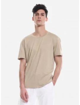 Salezan.Style T Shirt Crew Neck   Khaki L by Zaful