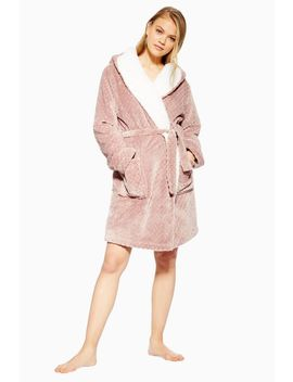 Geometric Teddy Hooded Dressing Gown by Topshop