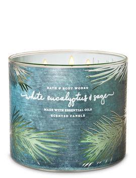 White Eucalyptus & Sage   3 Wick Candle    by Bath & Body Works