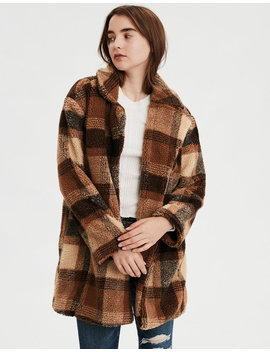 Ae Faux Sherpa Plaid Coat by American Eagle Outfitters