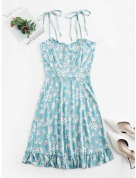 Sale Floral Cami A Line Mini Dress   Jeans Blue M by Zaful