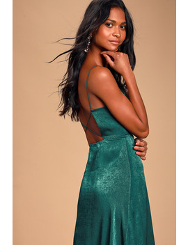 Marabel Teal Blue Satin Backless Midi Dress by Lulus