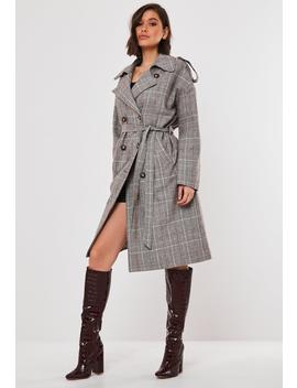 Tan Heritage Plaid Oversized Trench Coat by Missguided