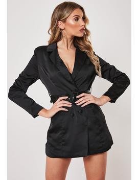 Petite Black Satin Blazer Dress by Missguided