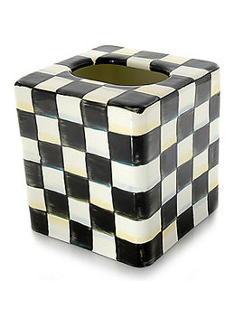 Mac Kenzie Childs Hand Decorated Enamelware Tissue Box Cover by Shop Hq