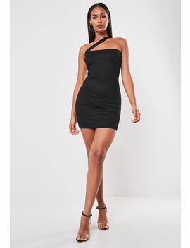 Black Asymmetric Strap Bodycon Mini Dress by Missguided