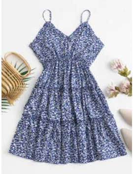Sale Empire Waist Ruffles Tiny Floral Cami Dress   Cadetblue M by Zaful
