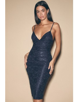 Cassius Navy Blue Sequin Lace Bodycon Midi Dress by Lulus