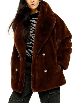 Ally Faux Fur Double Breasted Jacket by Topshop