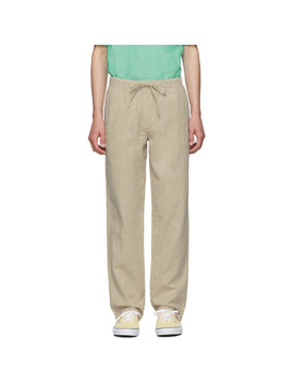 Beige Linen Carter Trousers by Onia