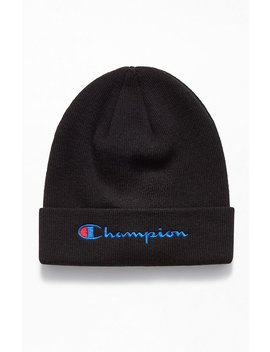 Champion Embroidered Script Beanie by Pacsun