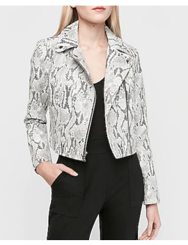 Snakeskin Print Vegan Leather Cropped Zip Front Moto Jacket by Express