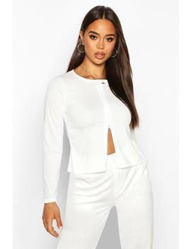 Double Zip Up Ribbed Top by Boohoo