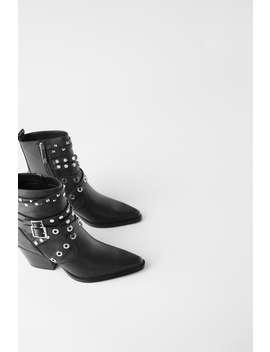 Heeled Leather Ankle Boots With Straps And Studs by Zara