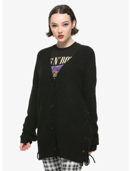 Black Side Lacing Girls Cardigan by Hot Topic