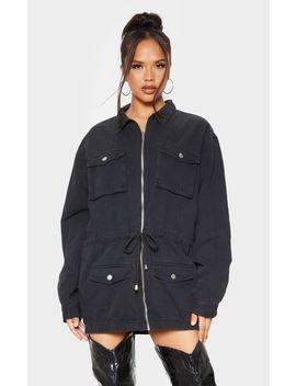 Washed Black Pocket Detail Elastic Hem Jacket  by Prettylittlething