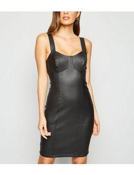 Black Coated Denim Bustier Bodycon Dress by New Look