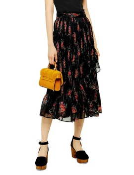 Floral Print Metallic Wrap Skirt by Topshop
