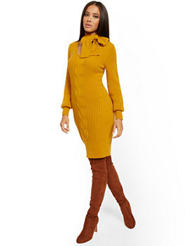 Tie Neck Sweater Dress by New York & Company