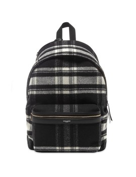 Saint Laurent Flannel Check City Backpack by Saint Laurent
