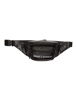 Black Ripstop Logo Marsupio Pouch by Saint Laurent
